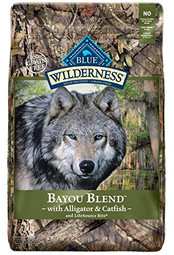 Blue buffalo wilderness bayou blend alligator catfish dry dog food availability taste