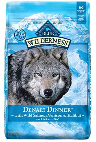 Blue Buffalo Wilderness high protein grain free Denali Dinner dog food wild halibut venison