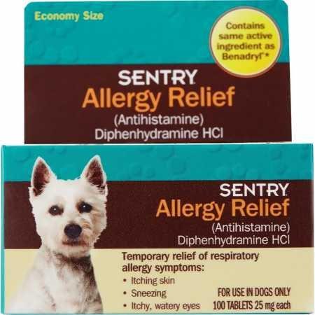 Dog allergy relief Sentry antihistamine diphenhydramine HCl Benadryl medicine