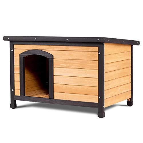 Tangkula Wood Dog House Large Pet Shelter Log Cabin Extreme Weather Resistant Dog House Adjustable Feet