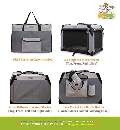 large opening doors carrying case mesh screens collapsible roadtrip dog kennel