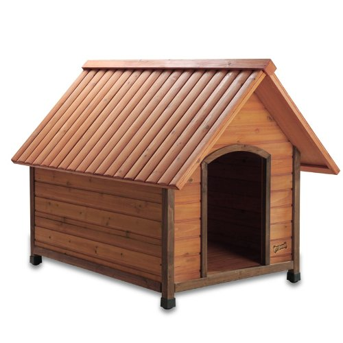 Dog house types standard sloped gable roof lifted off ground wood slat walls