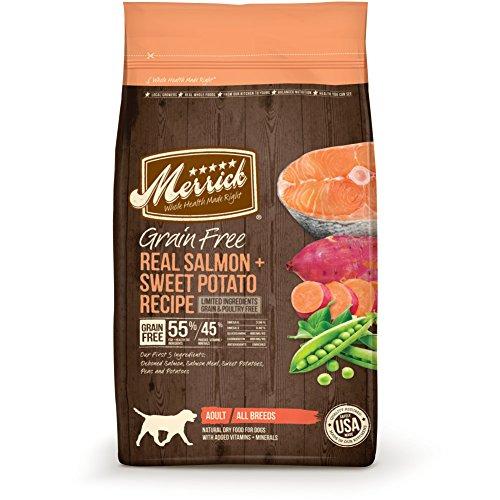 Merrick dry dog food alternative grain free salmon sweet potato recipe healthy adult all breeds