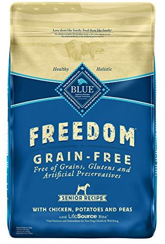 Blue Buffalo Freedom grain gluten preservative free senior recipe helps dogs live longer