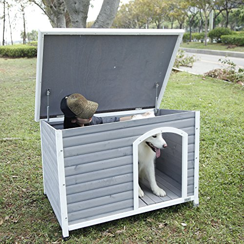 Dog house with removable liftable roof for easy cleaning airing out after wet