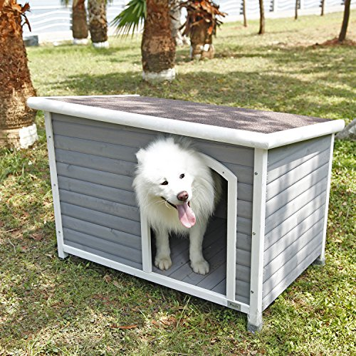 Petsfit wooden dog house best for rainy weather painted cedar water mold resistant