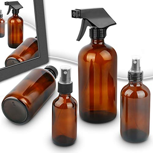 Esarora amber dark glass spray bottles for essential oil storage application