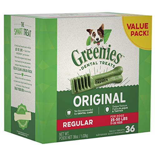 Greenies dental chews treats regular fight plaque good for teeth breath canine dental health