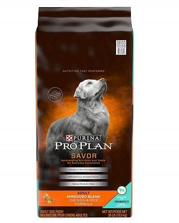 Purina Pro Plan Savor Adult Shredded Blend chicken rice dog food brand comparison