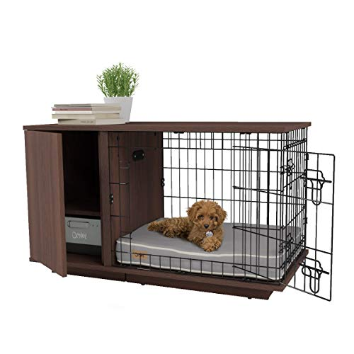 Omlet Fido Studio Luxury Dog Crate with Wardrobe wire and wood storage