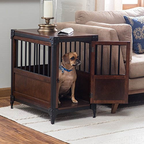 Boomer and George Wooden Dog Crate End Table metal reinforced wood