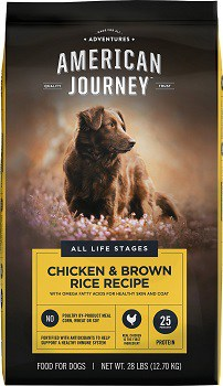 Chewy dog food brand American Journey rice grain dog food quality