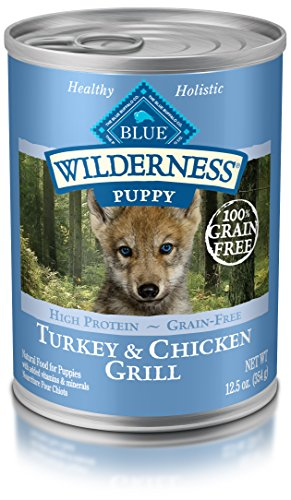 Blue Wilderness puppy canned chicken mixed with dry food to help puppies learn to eat