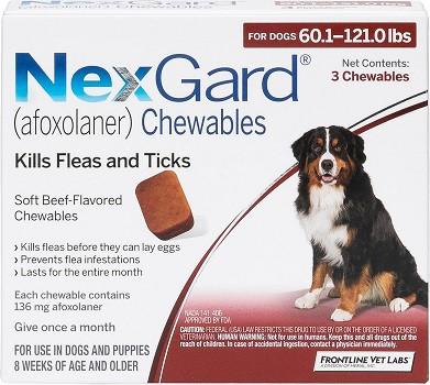 Frontline Vet Labs NexGard chewable medication with afoxolaner prevents ticks