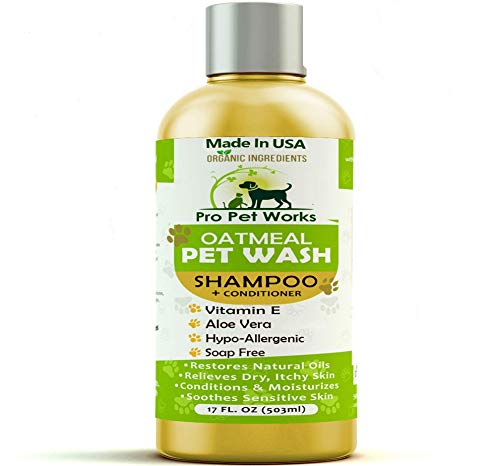 Soothing oatmeal pet wash shampoo with coconut oil for hotspots