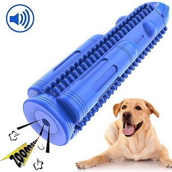 Pamalu toothbrush chew resistant dental toy for cleaning dog teeth