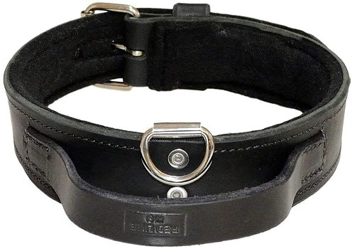 REDLINE K 9 heavy duty leather dog collar for big tough strong puppies soft felt padding