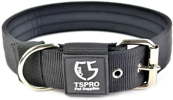TSPRO adjustable dog collar with D ring indestructible option