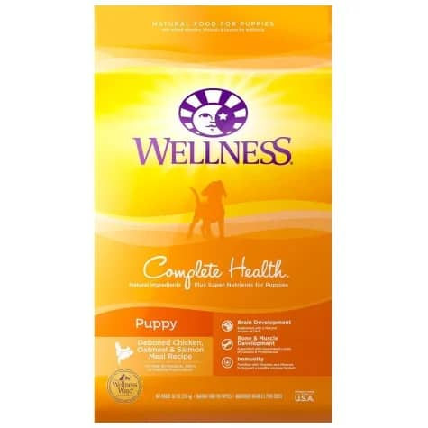 Wellness complete health dry dog food low salt intake diet for puppies
