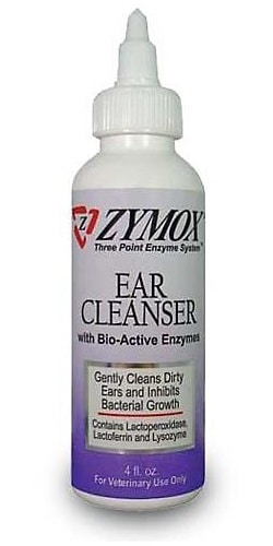 Zymox Ear Cleanser for cleaning dog ears before using coconut oil