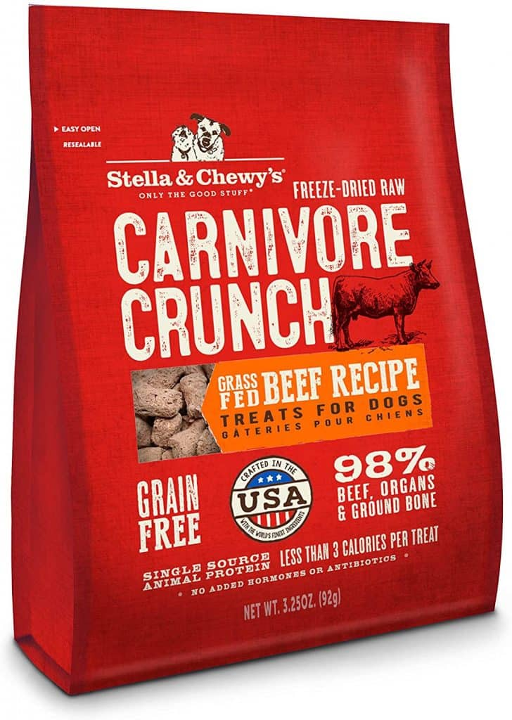 Stella Chewys carnivore crunch grass fed beef recipe dog treats low sodium calories