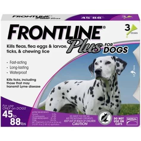 Frontline plus dogs kills fleas eggs larvae ticks lice best topical treatment