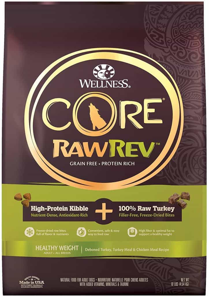Wellness Core Raw Rev best high fiber dog food