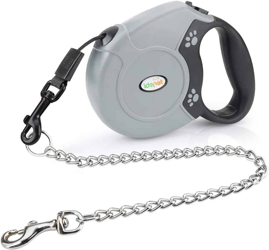 idepet heavy duty retractable chain dog leash anti-chewing steel