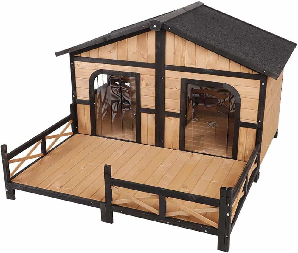 PawHut Dog Cabin great for huge XL dogs with porch winter dog house
