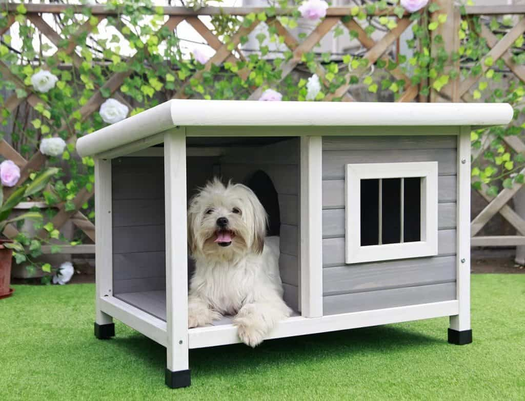 Petsfit Gray Wood Dog House great insulated dog house for small dog breeds